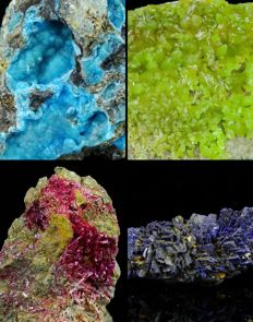 Lot with Pyromorphite, Hemimorphite, Erythrite, Azurite - 1,3 to 4,6 cm - 79 gm (4)