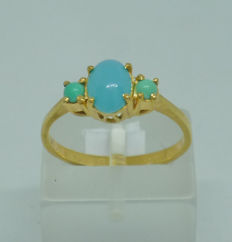 18k Gold Ladies Ring with Turquoise - size 54