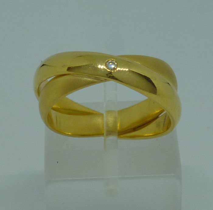 18k yellow gold ladies Ring with diamonds- Size: 56