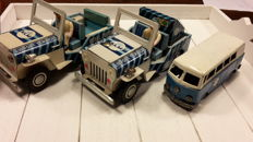 Japan - Length 14-16 cm - lot with 3 tin KLM cars with friction motor, 60s