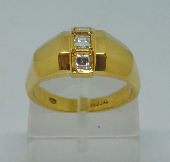 Yellow Gold K18 Ring with diamonds - 54 (EU)