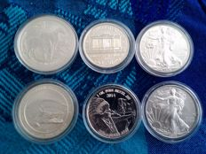 World – lot of 6 coins (Australia, Austria, USA) 2008/2015 – silver.