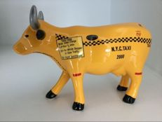 Cow Parade Cowparade - Taxi Cow - medium - ceramic in original box with tag.