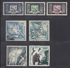 Monaco 1949/1955 - Birds Airmail and Aeroplane - Yvert PA n° 42/44 + 55/58