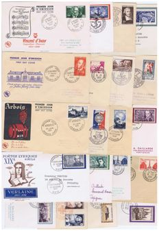France 1951 – Lot of 18 1st day covers – Yvert n°880 to 917