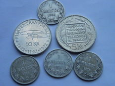 Finland/Sweden - Lot of  6 coins - 4 x 1 Markaa 1866/1874 Sweeden 5kr 1966 and 10kr 1972 - silver