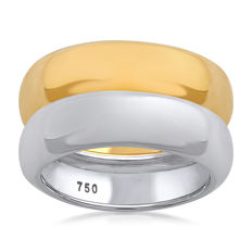 No reserve price, brand new White & Yellow gold (Set of 2) wedding bands, size N/54, 6.05mm width each