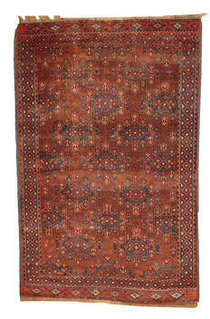 Hand made antique collectible Turkoman rug 3.8' x 5.6' ( 116cm x 170cm ) 1880s
