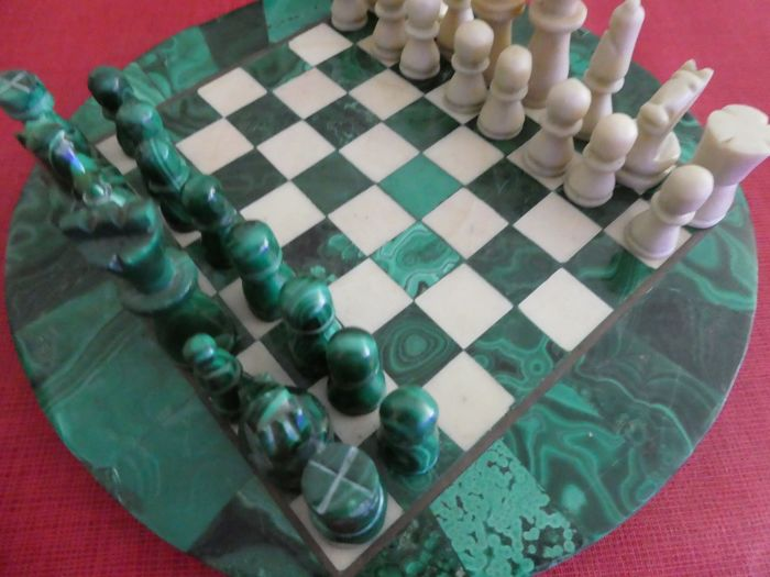 Chess set made from the mineral Malachite 23.5 cm