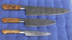 Set of three handcrafted Damask knives-olive wood handle - 200 + layers damask steel
