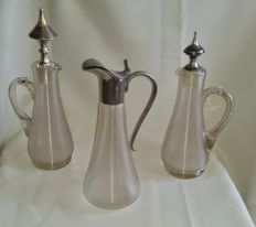 3 Frisian wire glass decanters w.v. 2 with silver stopper. the Netherlands, circa 1920