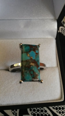 Beautiful 8.55ct Egyptian Turquoise Coctail ring.