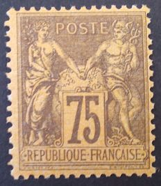 France 1890 – Sage type II, 75 c. purple s. orange, Signed Roumet – Yvert no. 99