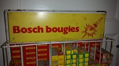 Bosch Bougies - vintage display met bougies in doosjes - 59 x 47 x 9 cm