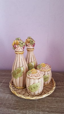 Oil and vinegar cruet, salt shaker, pepper shaker in terra cotta