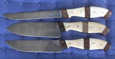 Set of three handcrafted Damask knives - 200 + layers of damask steel handle made from camel bone and Walnut wood