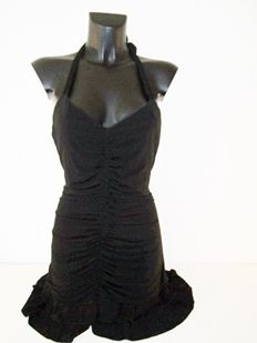 BCBGMAXAZRIA, black, summer designer halter-top dress.