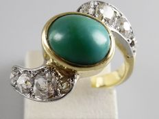 Antique ring of 14 kt with green turquoise and 8 Bolshevik cut diamonds, 0.85 ct