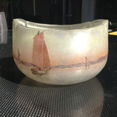 Legras - Oval bowl - Acid-etched decoration of sailboats.