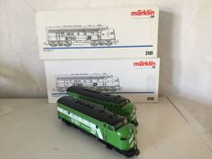 Märklin H0 - 3181/4181 - Diesel locomotive Burlington F7, truck with dummy