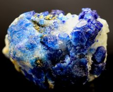 Double Sided Terminated Royal Blue Lazurite and Fluorescent Afghanite with Golden Pyrite & Calcite - 33 x 47 x 35 mm - 80 gm