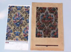 Two drawn and hand-painted designs for tapestry/wallpaper, France/England, circa 1900