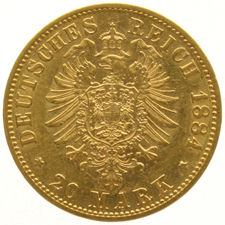 Germany, Prussia – 20 Marks 1884 A – Wilhelm – gold
