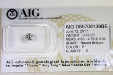 Diamond – 0.43 ct – E/I1 – No Reserve Price