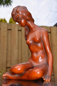 Ceramic, large-sized sculpture of seated female nude - Germany - from the 50s.