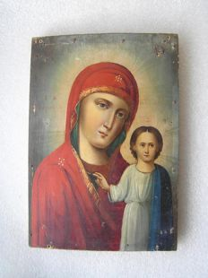 19 th century ortodox russian icon of Virgin Mary of Kazanskaja hand painted