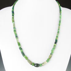 Necklace with Roman green glass beads - 54 cm