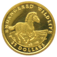 Cook Islands - 25 Dollars 1992, Przewalski Horse - 1/25 oz. gold