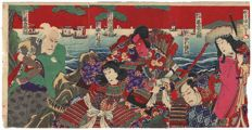 Big original triptych coloured woodcarving by Utagawa Kunisada III (1848 - 1920) - Japan - approx. 1890