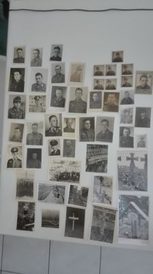 Beautiful lot original German soldiers passport photos (35 pieces) + 12 original German soldiers graves (feldgrab)