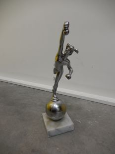 Original Vintage Heavy Cast Chrome Mercury Car Auto Mascot on Period Square Marble Base