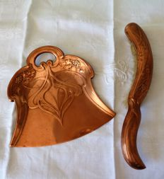 Art Nouveau copper shovel and brush set