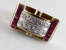 18 kt Art Deco-Styled Tank ring with synthetic pink sapphires and a diamond of 0.60 ct.