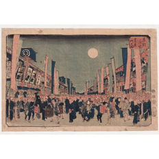 "Original Woodblock Print  ""Scene at Ni-Chome Theater-disitrct"" from the ""Famous Views of Eastern Capital""-series  by Utagawa Hiroshige (1797–1858)  - Japan -  1853"