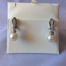 Top quality, Australian pearl earrings in ivory colour with 0.35 ct diamonds. 18 kt white gold. Earring length: 3 cm