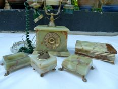 French Rotary Telephone Green Marble & matching item's