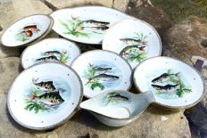 Twelve-part porcelain fish serving set -Limoges