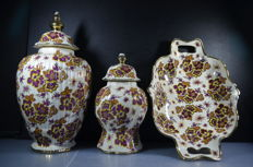 Three piece Boch Freres Keralux, two pots and a bowl