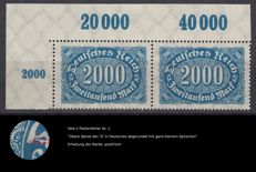 German Empire - Collection of large number plate errors - stamps 2000 Mark Michel 253