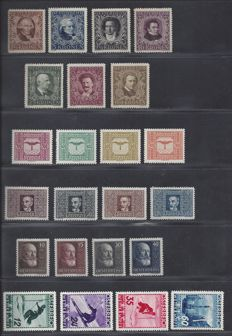 Austria, 1922/1936, various issues, Michel 418-424A, 425-432, 494-497, 623-626