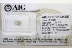 "Diamond 0.44 ct -  Fancy Greenish Yellow "" Champagne "" - Zonder Reserve Prijs"