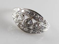 Gold with platinum Art Deco ring with 0.81 ct diamonds in old European and octagon cut.