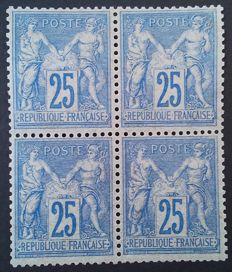 France 1876 – Sage, type II, 25 c. ultramarine, block of 4, Robineau certificate – Yvert # 78