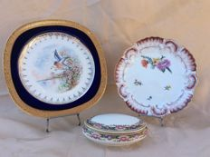 Two porcelain Limoges plates and a pill box