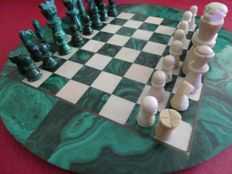 Malachite chess set 28 cm