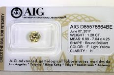 Diamond -  1.28 ct -  Fancy Light Yellow - Zonder Reserve Prijs
